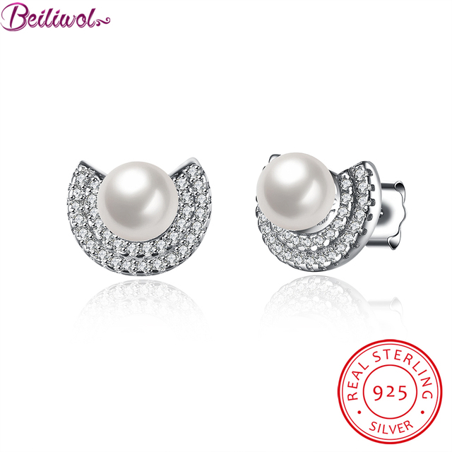 Fashion women's pearl jewelry stud earrings for women Zircon 925 sterling-silver-jewelry pearls earring 2016 popular accessories