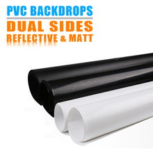 Dual Sides Matt and Reflective PVC Backdrops Solic Color Pure Black White Inverted Filter Reflection Effect Washable Dustproof