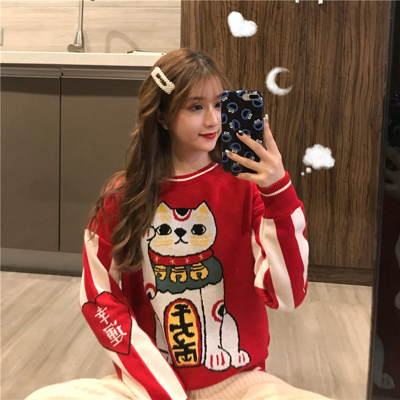 Women's Clothing Cute Kawaii Bf Red Lucky Cat Round Neck Sweater Lady Harajuku Ulzzang Sweaters For Women Thick Knitting Retro