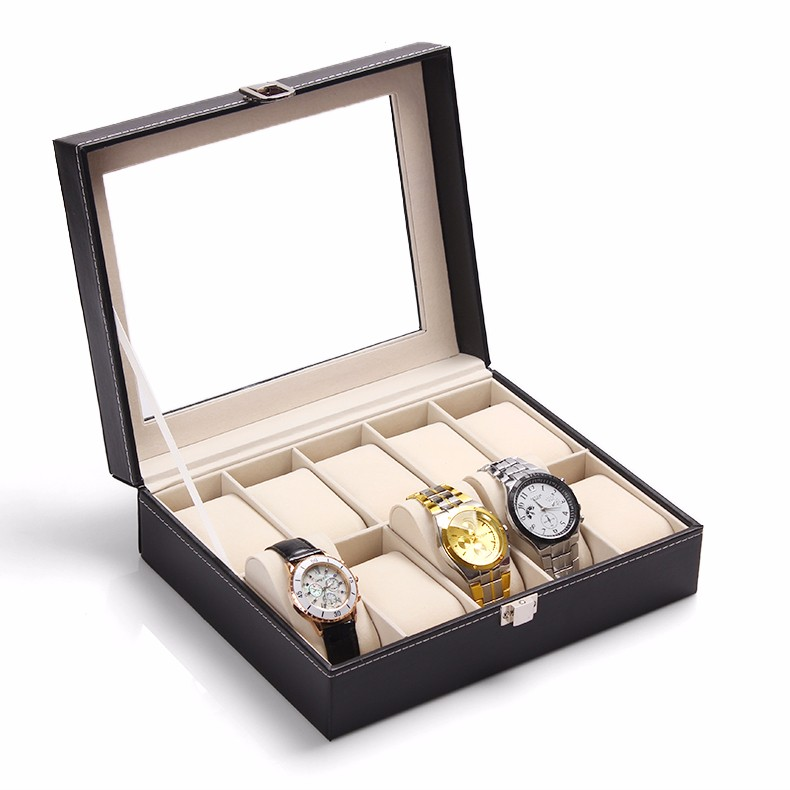 10 Grid PU Leather Luxury Brand Watch Display Box 1