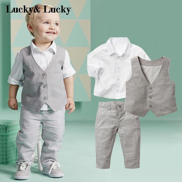 Джентльмен ребенок мальчик одежда свадебные детская одежда рубашку + жилет + брюки 3 шт./компл. мальчик комплект одежды