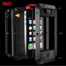Waterdicht schokbestendig telefoon gevallen Voor iphone7 7p 6 6s 5 5s 5SE 4s Metalen Aluminium dubbele beschermen Rugged case cover + Gehard glas