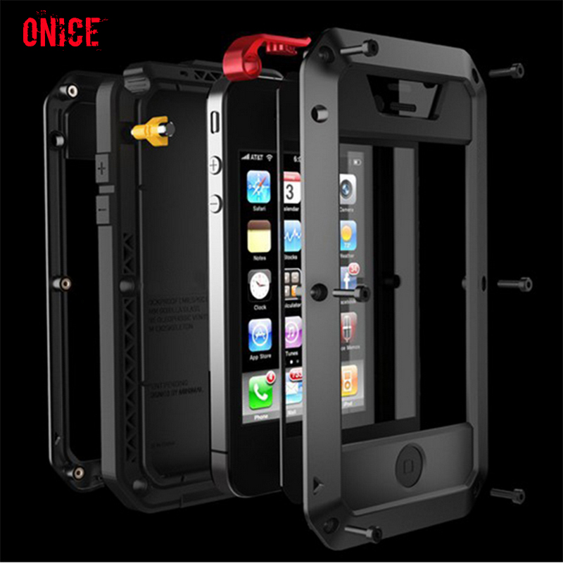 New Luxury doom armor Waterproof case For iphone6 5 4 s plus Dirt Shock Metal Aluminum+Tempered glass360full protect back cover