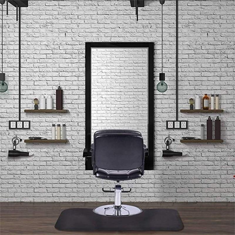 Black Rectangle Barber Salon Floor Mat Anti-Slip  Waterproof Office Home Chair Mats HB84663