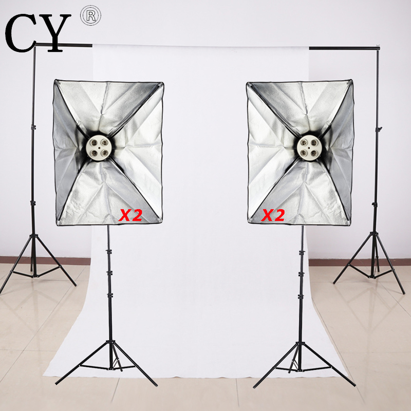 Photo Studio Video Lighting Kit Light Stand + SoftBox with 5 x E27 lamp holder+ Backdrop Support Cross Bar with backdrop PSK12
