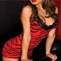 Venta caliente Tamaño M sexy lencería de leopardo rojo backless del cordón del vestido + g string 2 unids ropa interior ropa de dormir conjunto traje ropa interior