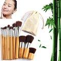 11 pçs/set Makeup Brushes Set Bamboo Superior Suave Cosméticos Eyeshadow Fundação Concealer Make up Jogo de Escova com Saco