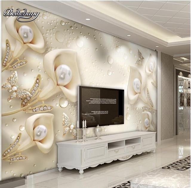 beibehang calla folha borboleta 3d foto papel de parede quarto mural sala de estar sof tv fundo. Black Bedroom Furniture Sets. Home Design Ideas