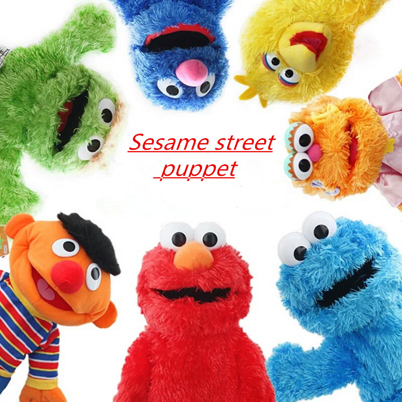 7 Styles Sesame Street Hand Puppet Plush Toys Elmo Cookie Grover Zoe & Ernie Big Bird Stuffed Plush Toy Doll Gift For Kids