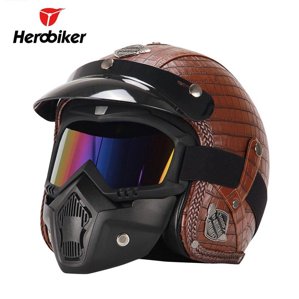 HEROBIKER Retro Vintage Motorcycle Helmet Cruiser Chopper 3/4 Open Face Helmet Synthetic Leather Casco Moto Helmet Glasses Mask