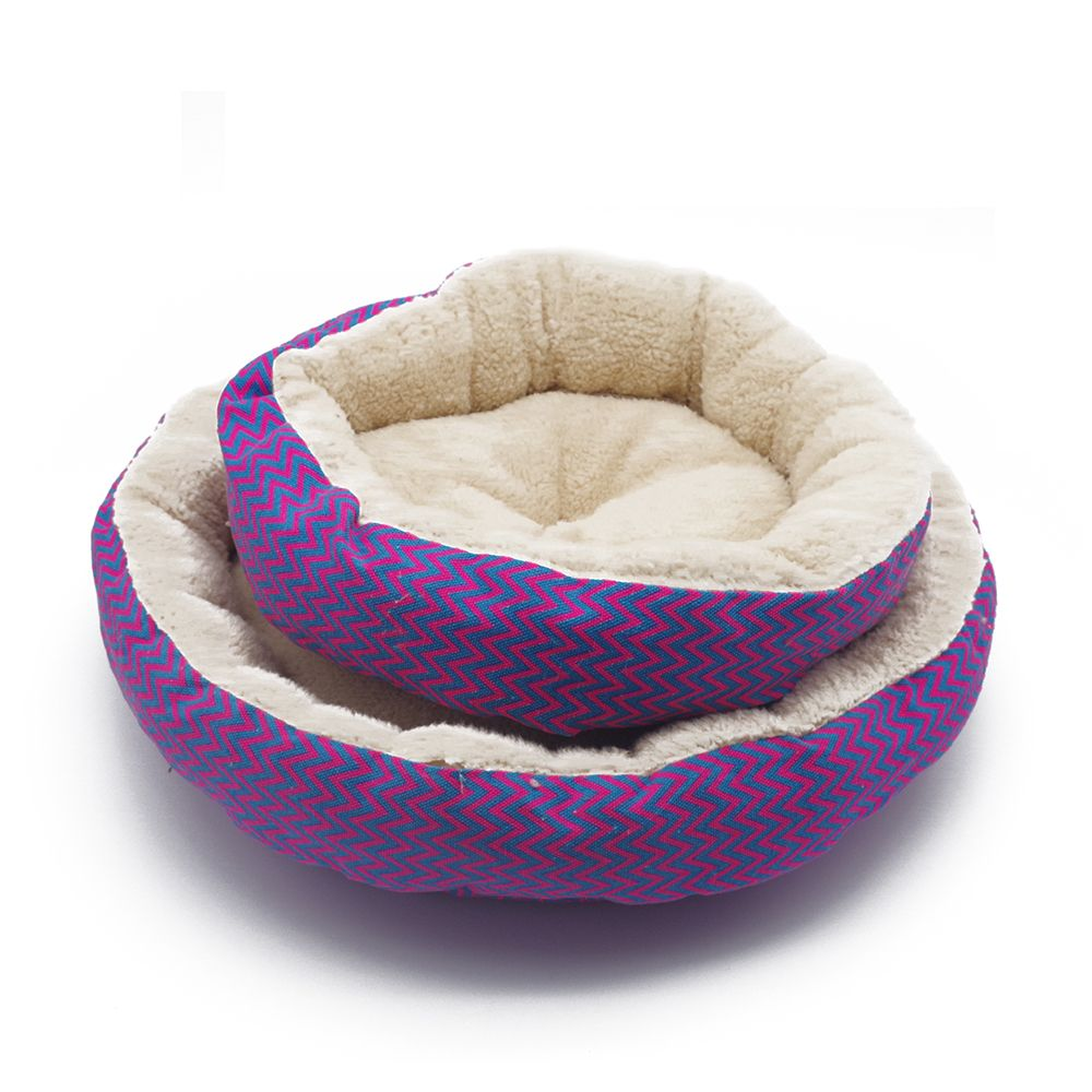 Winter 2 Colors Warm Round Soft Dog House Bed Striped Pet Cat And Dog Sofa