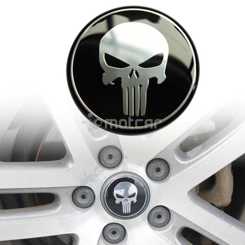 4 pezzi Punisher VALVOLA TAPPI SKULL AUTO MOTO BIKE HARLEY VALVE CAPS BLACK