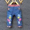 Jeans Voor Meisjes Baby Lange Broek Borduren Libellen en bloemen Baby Broeken lente Zuigeling Meisjes Jeans Broek