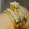 2016 Nova Moda Jóias Da Princesa Corte 925 Prata Banhado A Ouro Amarelo CZ de Casamento Do Diamante Anéis de Noivado Do Partido Tamanho 5-11