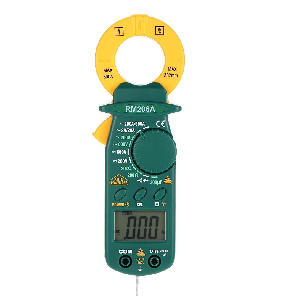 RICHMETERS RM206A Digitale meter 1999 zählt hintergrundbeleuchtung AC/DC Amperemeter Voltmeter Widerstand meter Clamp Meter Tester