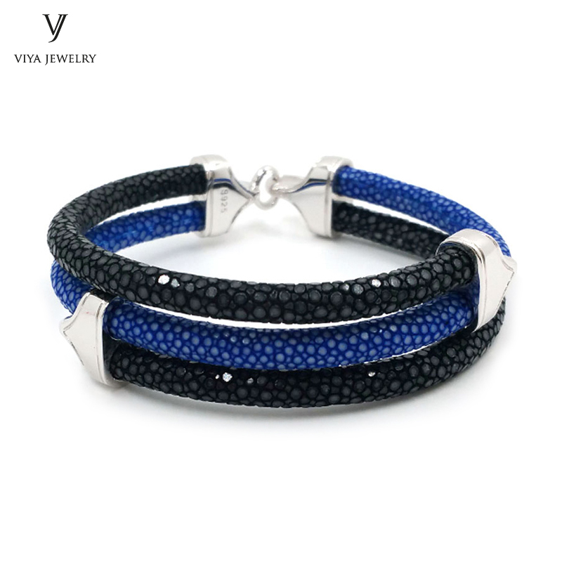 Stylish Men Bracelet Blue Black 2 Mix Colors Stingray Leather Bracelet 925 Silver Bracelet For Watch Christmas Gift With Box все цены