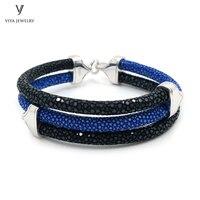 Stylish Men Bracelet Blue Black 2 Mix Colors Stingray Leather Bracelet 925 Silver Bracelet For Watch Christmas Gift With Box