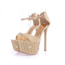 Brand New Sexy Gold Black Super High Heels Women Platform Nude Sandals Pumps Ladies Party Shoes Rhinestone A886-8
