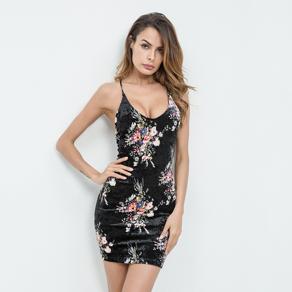 027affde64b LOGAMI Black Red Elegant Mini Dress 2018 Summer Women Sexy Club Party  Dresses Sleeveless Backless Velvet Dress-in Dresses from Women s Clothing  on ...
