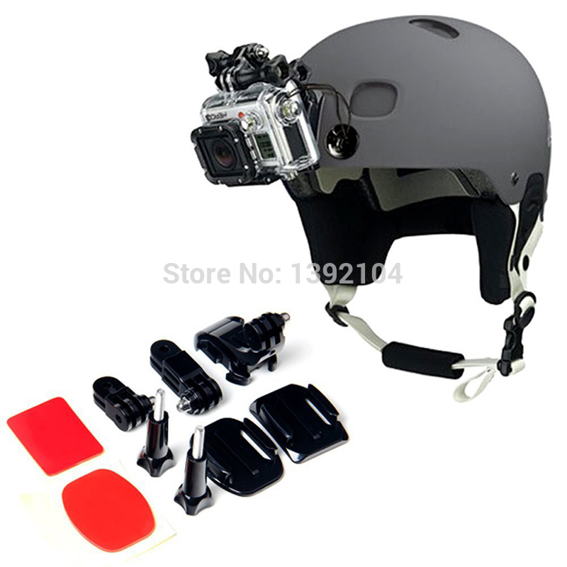 Helmet Front Side Mounting Kit with Curved and Flat Mount for Gopro Photography