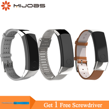 Купить с кэшбэком Mijobs Wrist Strap for Huawei Honor band 3 Strap Wristband Stainless Steel Bracelets for Honor Band 3 Smart Watch Accessories