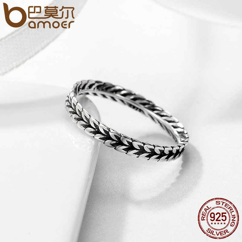 83412a483 ... BAMOER Authentic 925 Sterling Silver Stackable Ring Wheat Shape Arrow  Finger Ring Women Vintage Sterling Silver