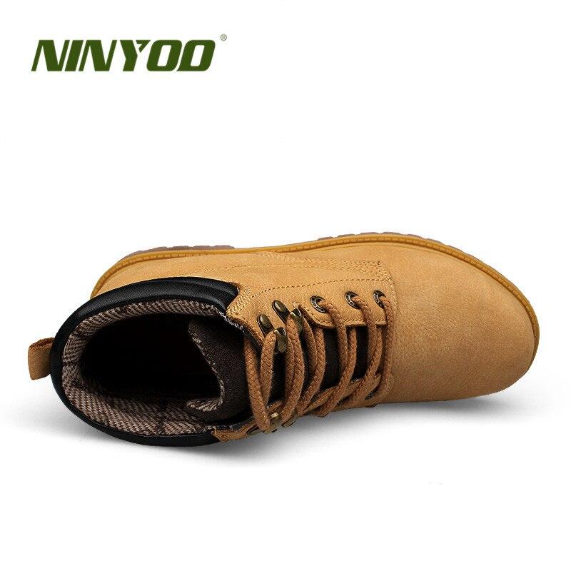 Botas de trabajo para hombre al aire libre de tamaño pequeño NINYOO botas de invierno de cuero genuino a prueba de agua a prueba de desgaste botas del ejército hombres Plus Size36 48 - 2