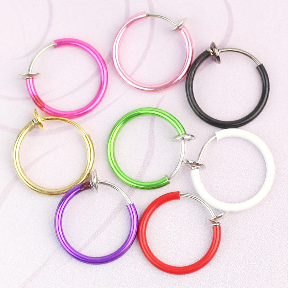 refaxi fashion 8 color clip on fake piercings rings ear nose lip belly earrings body jewellery. Black Bedroom Furniture Sets. Home Design Ideas