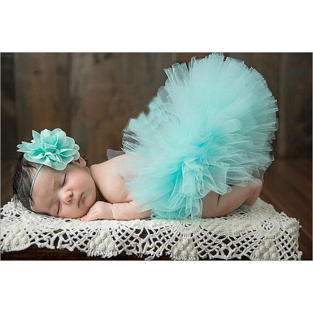 2018 NEW 6 Colors Vintage Newborn Tutu Skirt With Matching Flower Headband Newborn Photo Prop Dancewear Girl Fluffy Pettiskirt