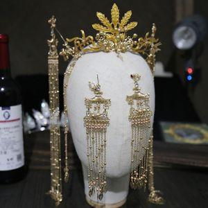 Image 4 - 花嫁新スタイル古代衣装帽子中国のフェニックスクラウン宮殿レトロ房の耳セット