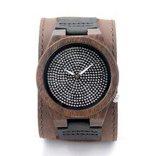 БОБО ПТИЦА Натурального Бамбука Деревянные Часы Широкий Кожаный Ремешок Полный Diamond Dial Япония Кварцевый Механизм Мужчины Повседневная Часы B19-2