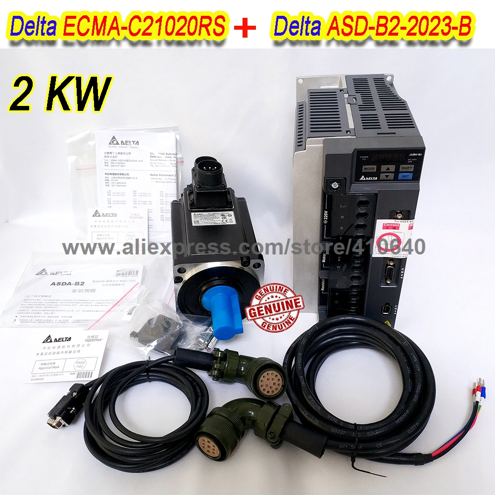 Set Sales Delta 2000 W Servo Motor ECMA-C21020RS And Servo Drive ASD-B2-2023-B with Cable with 5000 rpm Better Quality communication cable for servo drive mr cpcatcbl3m cable mr j2s a
