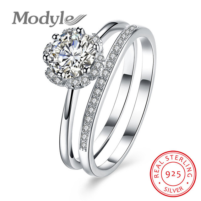 Modyle 100 Pure 925 Sterling Silver Bridal Sets Rings Fo Women Men