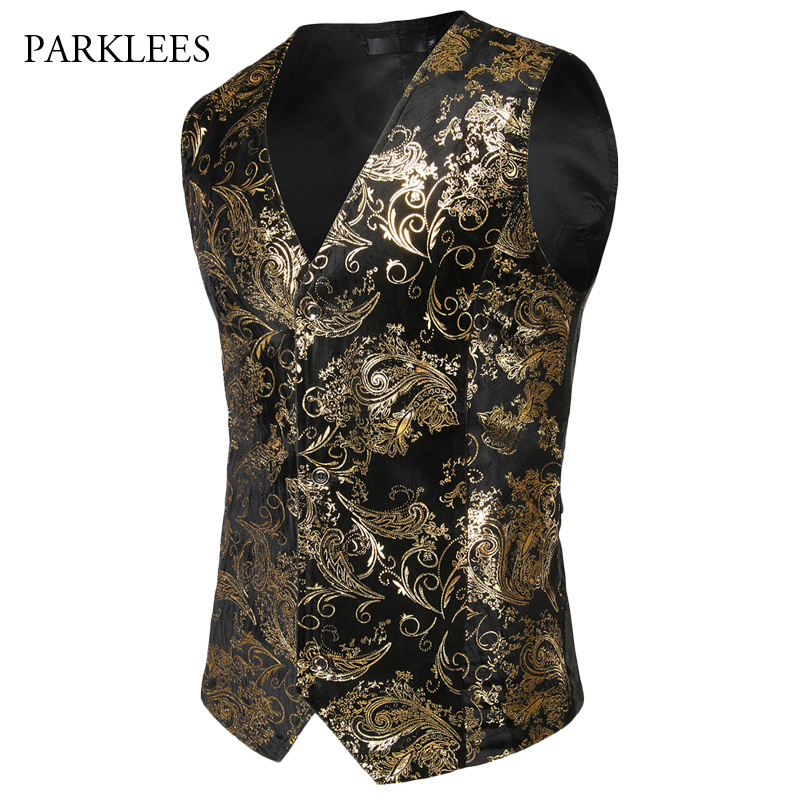 Steampunk Suit Vest Men Shiny Bronzing Paisley Flower Chaleco Hombre Slim Fit Sleeveless Wedding Tuxedo Dress Vest Waistcoat Men