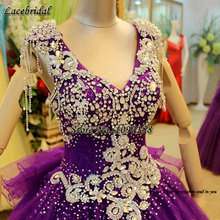 Sexy Purple Luxury Ball Gown Lace and Heavy Beading Wedding Dresses 2016 with Tassel on Shoulder Church Puffy Bridal Gowns XW84