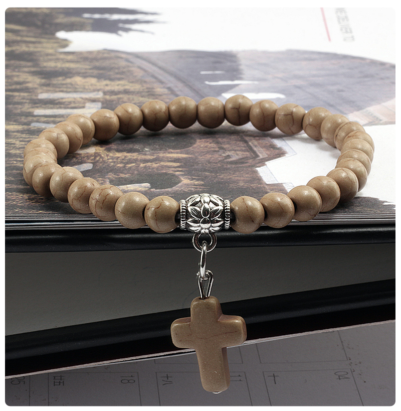 Natural Turquoises Matte Black Stone Beads Strand Bracelets