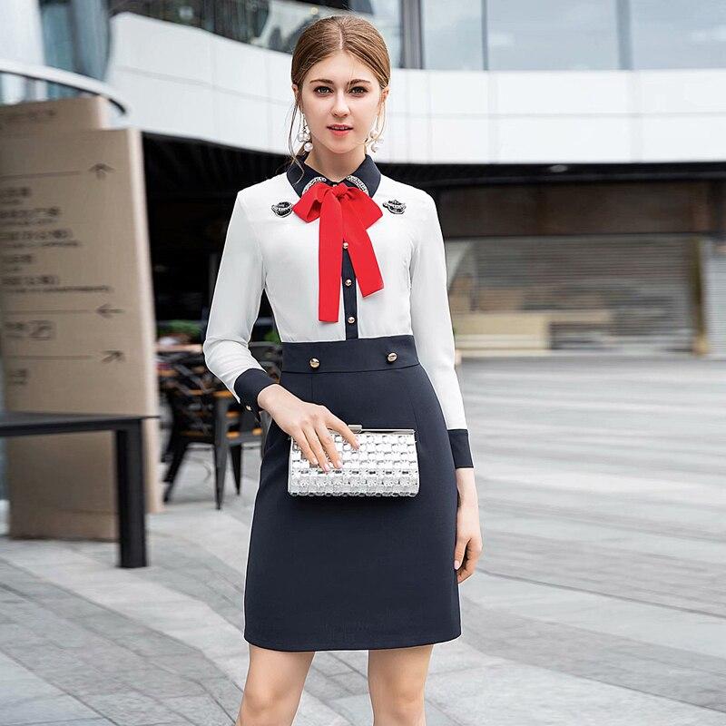 Diamant Revers Dames Piste Arc Printemps Robe Haute Point Fashion 17 Multi Col À Bureau Designer 2019 De Qualité 1204 Mince Rétro 2 qSZx6wv