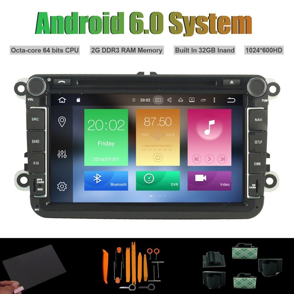 Android 6.0 Octa-core CAR DVD PLAYER for VW B6 CADDY PASSAT SAGITAR GOLF TIGUAN TOURAN Radio RDS WIFI 2G RAM 32GB Inand Flash
