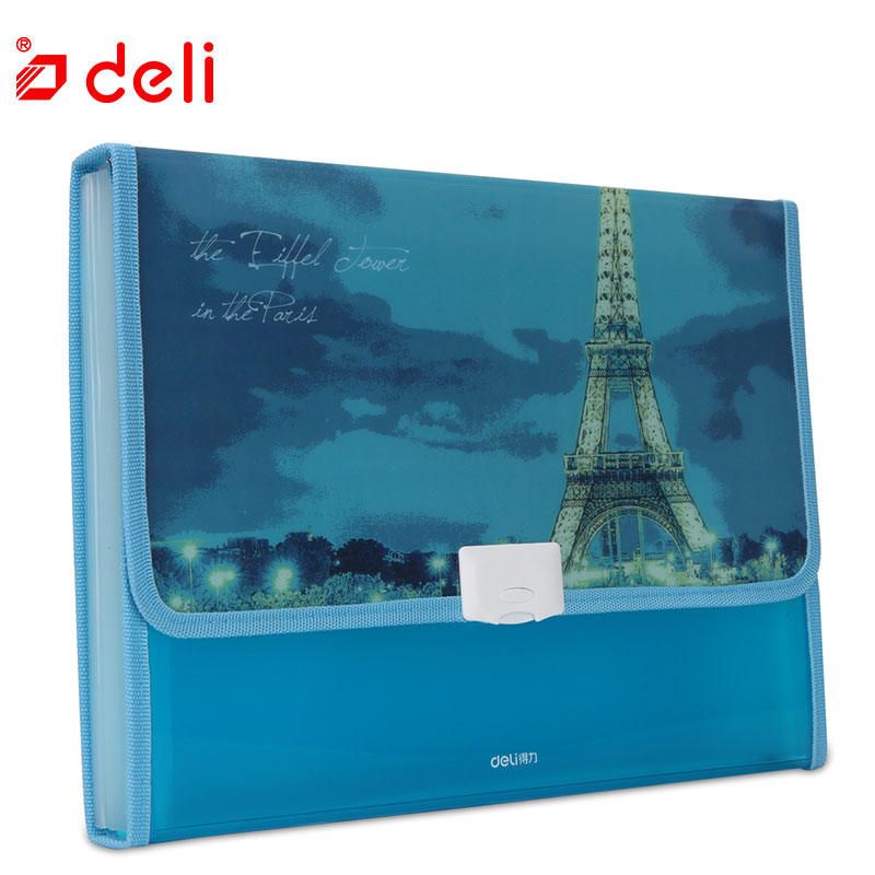 Deli 1PC Plastic File Folder Student Document Storage Bag School Stationery Expanding Wallet Document Organizers School Supplies simple plastic 5 section index band folder document file storage organizer filling stationery a4 size expanding wallet 4 colors