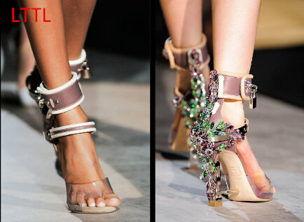 New Crystal covered metal high heels Rihanna wearing shoes Rhinestone Sandals Padlock Ankle warp sandals PVC