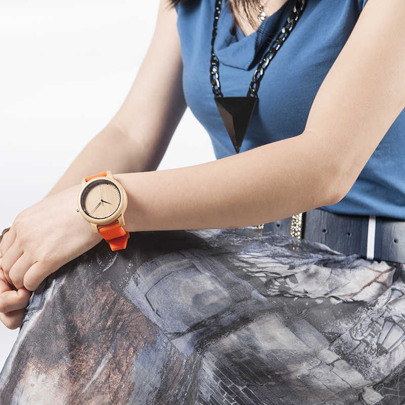 Reloj BOBO BIRD para mujer relojes de madera de bambú correas de silicona relojes mujer marca de lujo gran reloj de pulsera para niñas aceptar Logo