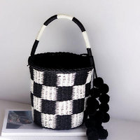 LJT Cylinder Paper Rope Handbags Summer Straw Bag Retro Large Capacity Straw Handbags Tote Travel Luxury