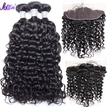 Maxine Hair Brazilian Water Wave 3 Bundles With Lace Frontal Closure Remy Human Hair Weave Pre Plucked Lace Frontal With Bundles(China)