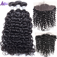 Maxine Hair Brazilian Water Wave 3 Bundles With Lace Frontal Closure Remy Human Hair Weave Pre Plucked Lace Frontal With Bundles
