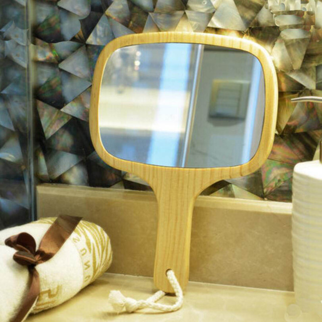 5 Unids Upsc princesa mango de madera de mano espejo Portátil belleza espejo de maquillaje puede ser colgante mano espejo de vanidad 17E15D50