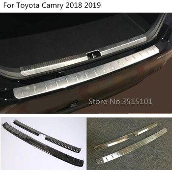 سيارة الخارجية الداخلية خارج المصد الخلفي الجذع غطاء الكسوة لوح من الفولاذ المقاوم للصدأ دواسة لتويوتا كامري الجديدة XV70 2017 2018 2019