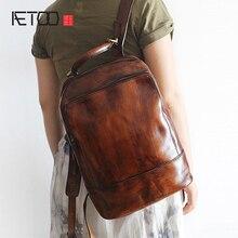 AETOO New retro handmade polish large capacity leather leather shoulder font b bag b font men