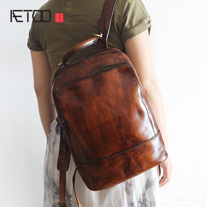 AETOO nuevo retro hecho a mano polaco de gran capacidad de cuero bolso de hombro hombres y mujeres modelos comunes-in Mochilas from Maletas y bolsas    1