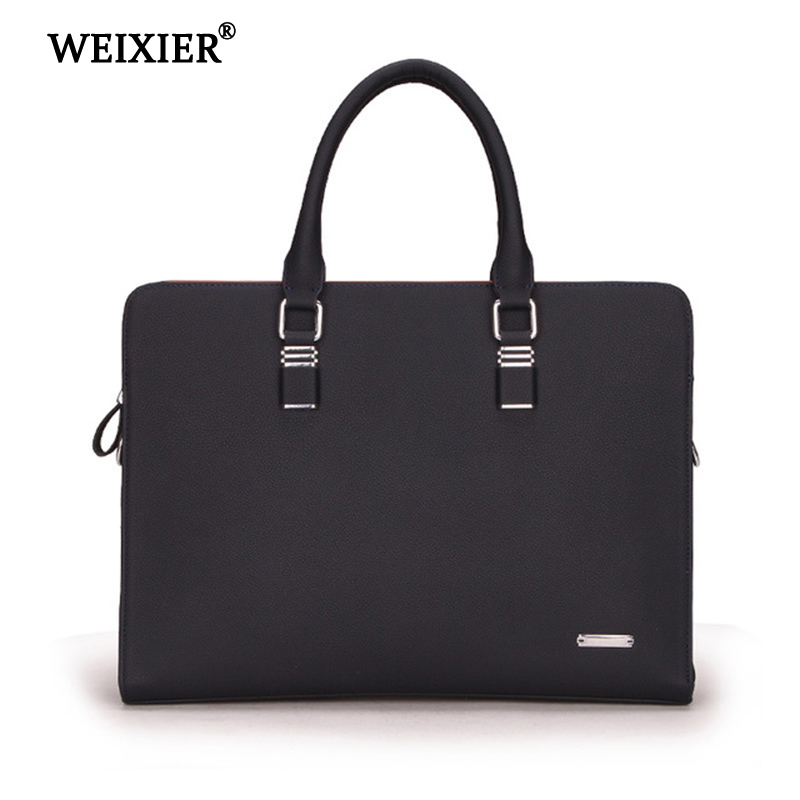 WEIXIER 2019 Large-Capacity  Genuine Leather Men's Computer Travel Handbag Solid Color Exquisite Soft Material Classic Handbag