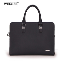 WEIXIER 2019 Large-Capacity  Genuine Leather Mens Computer Travel Handbag Solid Color Exquisite Soft Material Classic